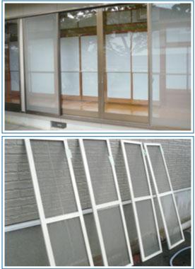 窓ガラス・サッシ・網戸クリーニング掃除風景